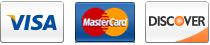 Credit Cards: Visa, Mastercard, Discover